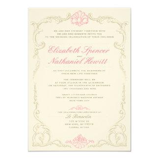 静かのアントワネットの結婚式招待状のピンク カード