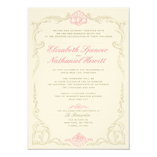 静かのアントワネットの結婚式招待状のピンク 12.7 X 17.8 インビテーションカード