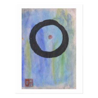 静けさの郵便はがきの青いEnso (禅の円) ポストカード