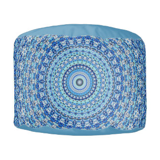 静まる青い曼荼羅のラウンドパフの座席 プーフ
