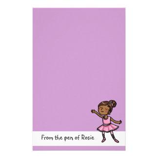 静止したカスタマイズ可能な漫画のバレエダンサー 便箋