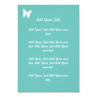 静止したターコイズの蝶結婚 カード