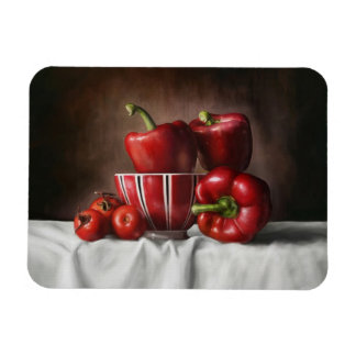 静物画のコショウのTomatoeのクラシックな絵画 マグネット