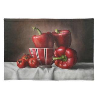 静物画のコショウのTomatoeのクラシックな絵画 ランチョンマット