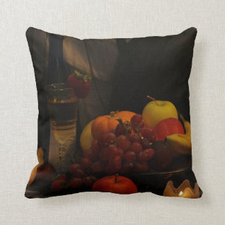 静物画のフルーツ及びワインの枕 クッション