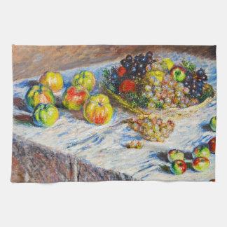 静物画-りんごおよびブドウクロード・モネ キッチンタオル