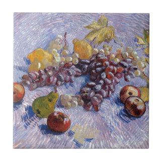 静物画: りんご、ナシ、ブドウ-ゴッホ タイル
