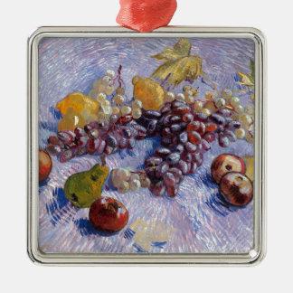 静物画: りんご、ナシ、ブドウ-ゴッホ メタルオーナメント