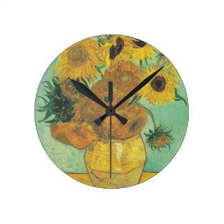 静物画: ヒマワリ-フィンセント・ファン・ゴッホ ラウンド壁時計