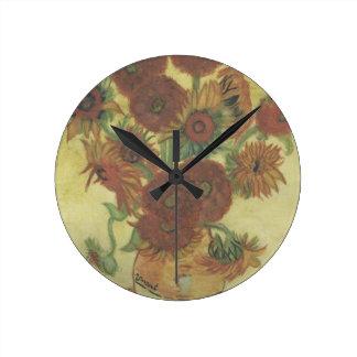 静物画: ヒマワリ ラウンド壁時計