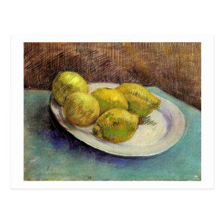静物画、プレート、ゴッホのファインアートのレモン ポストカード