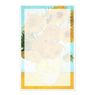 静物画- 12のヒマワリゴッホが付いているつぼ 便箋