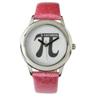 非不合理なPi 3.14の腕時計(ピンクのグリッター) 腕時計