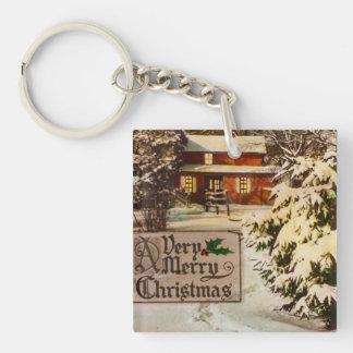 非常にメリークリスマスのクラシックで伝統的な冬 キーホルダー