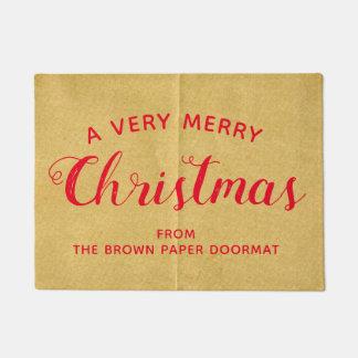 非常にメリークリスマスの模造のな包装紙のドア・マット ドアマット
