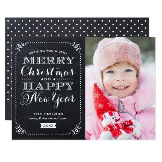非常にメリークリスマスの黒板の休日の写真カード カード