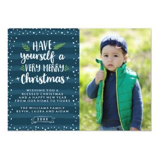非常にメリークリスマス|海軍ストライプな写真カード 12.7 X 17.8 インビテーションカード