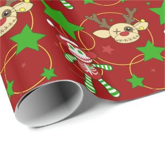 非常に不気味なクリスマスのギフト用包装紙(赤い) ラッピングペーパー