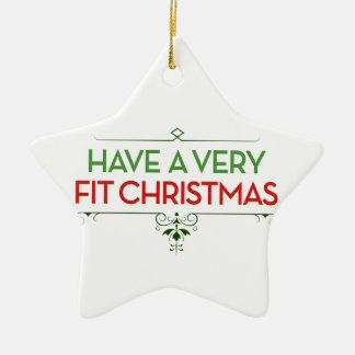 非常に合われたクリスマスのフィットネスの刺激を持って下さい セラミックオーナメント