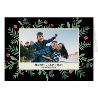 非常に果実のメリークリスマスの水彩画|のクリスマス グリーティングカード