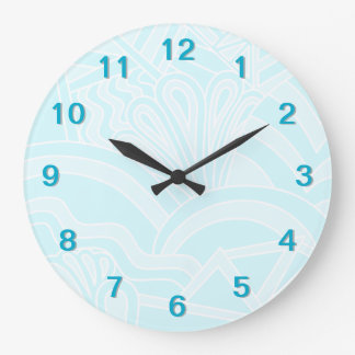 非常に淡いブルーのアールデコのスタイルの背景の設計 ラージ壁時計