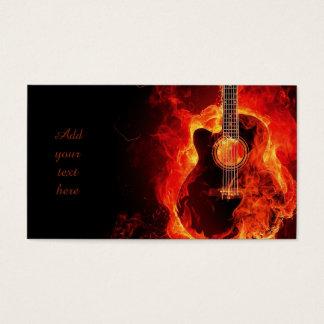 非常に熱いギターのオレンジ炎、音楽業界カード 名刺
