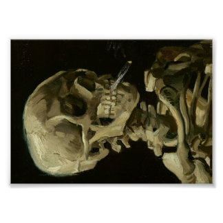 非常に熱いタバコが付いている骨組のゴッホのスカル ポスター