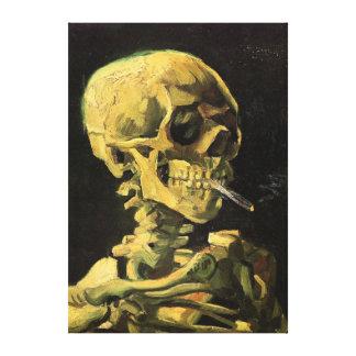 非常に熱いタバコ、ヴィンテージの芸術が付いているゴッホのスカル キャンバスプリント