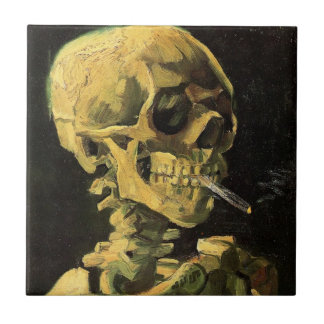 非常に熱いタバコ、ヴィンテージの芸術が付いているゴッホのスカル タイル