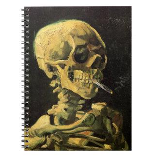 非常に熱いタバコ、ヴィンテージの芸術が付いているゴッホのスカル ノートブック
