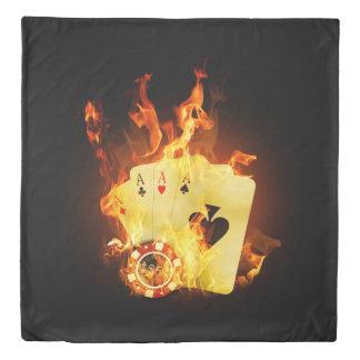 非常に熱いポーカーカード(2つの側面)の女王の羽毛布団カバー 掛け布団カバー