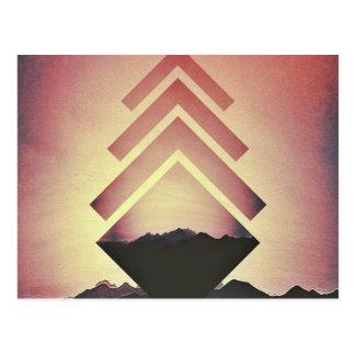 非常に熱い山の景色 ポストカード