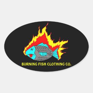 非常に熱い魚のロゴ 楕円形シール