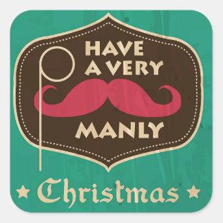 非常に男らしいクリスマスのステッカーを持って下さい スクエアシール