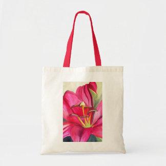 非常警報ユリの水彩画の芸術の花の絵画 トートバッグ