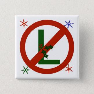 非L Noelの正方形のクリスマスボタン 5.1cm 正方形バッジ