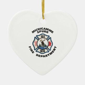 非Michigamme Spurrの消防署のロゴの服装 セラミックオーナメント