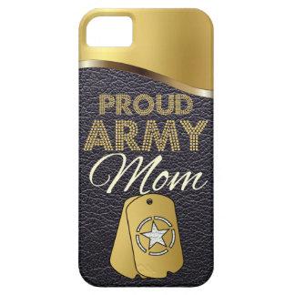 革および金ゴールドの誇り高い軍隊のお母さん iPhone SE/5/5s ケース