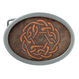 革のオレンジケルト結び目模様 卵形バックル