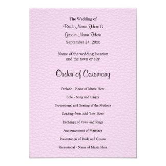 革のピンクの写真、結婚式プログラム カード