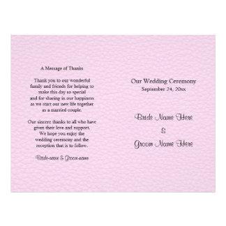 革のピンクの写真、結婚式プログラム チラシ