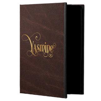 革の原稿のYasmineの名前入りで渦巻形のな金ゴールド iPad Airケース