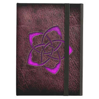 革の神秘的な白熱紫色のケルト族の花 iPad AIRケース
