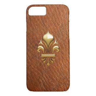革やっと金ゴールドFLEURON 1のプリントのiPhone 7の場合 iPhone 8/7ケース
