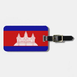 革バンドが付いているカンボジアの荷物のラベルの旗 ラゲッジタグ
