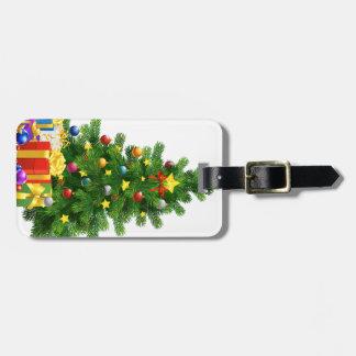革バンドが付いているクリスマスツリーのギフトの荷物のラベル ラゲッジタグ