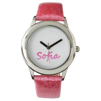 革バンドが付いているソフィアのステンレス鋼の腕時計 腕時計