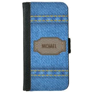 革一流のラベルが付いている青いデニムのジーンズ iPhone 6/6S ウォレットケース