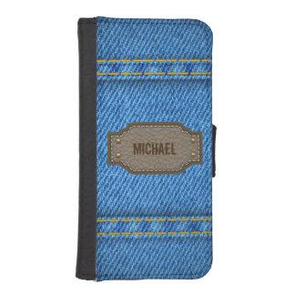 革一流のラベルが付いている青いデニムのジーンズ iPhoneSE/5/5sウォレットケース