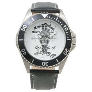 革及びステンレス製のスカル音楽腕時計 腕時計